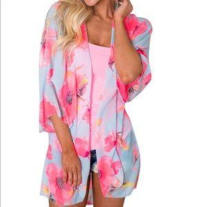 Pink Blue Pastel Floral Beachwear Swim Coverup OS